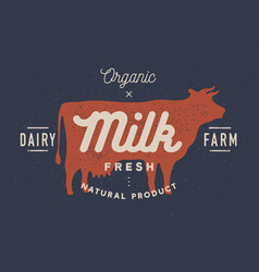 Milk cow logo with cow silhouette text milk vector