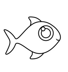 Monochrome silhouette of fish without scales vector