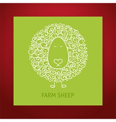 Natural Eco Hand Drawn Outline Sheep vector