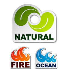Natural leaf ocean wave flame fire stickers vector