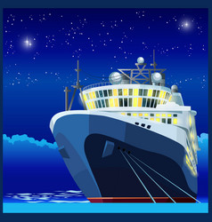 ocean liner at night vector image