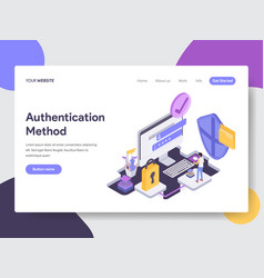 Online shopping authentication method isometric vector