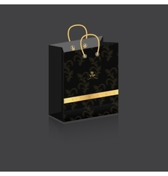 Paper bag dark gray with a vintage background with vector image