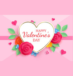 paper cut valentines day origami greeting card vector image