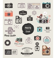 Photographer cameras photo studio icons set vector