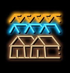 Pilgrimage houses neon glow icon vector