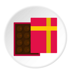 Pink box with chocolate icon circle vector