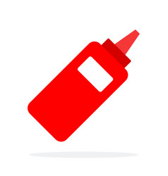 plastic dispenser with ketchup flat isolated vector image