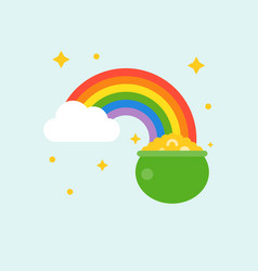 Pot of gold at end of rainbow vector
