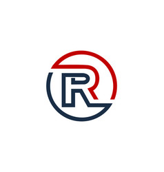 R letter circle line logo icon design vector