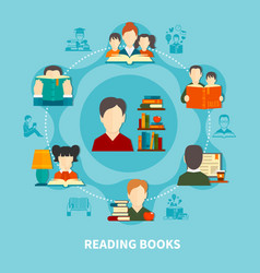 reading books round composition vector image