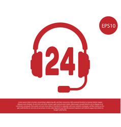Red headphone for support or service icon on vector