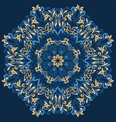 retro blue boho floral pattern background vector image