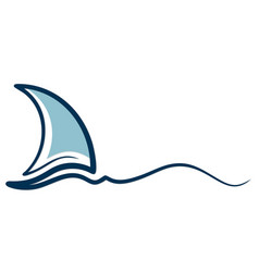 Sailing vessel symbol with wave vector