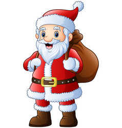 santa claus with carrying sack vector image