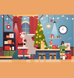 santa claus with elves putting gifts on machinery vector image