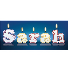 SARAH written with burning candles vector