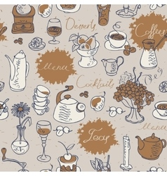 Seamless background on tea and coffee vector