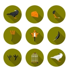 set of flat icons crow vector image
