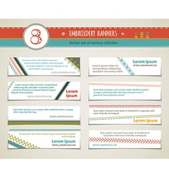 Set of horizontal embroidery banners vector