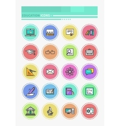 Set of Thin Lines Icons Education vector image