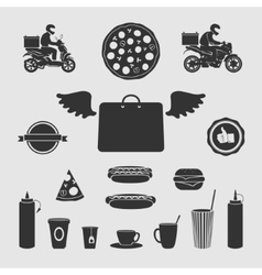 Set Symbols Food Delivery vector image