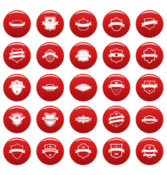 Shield badge icons set vetor red vector
