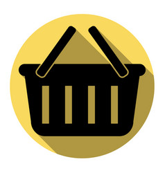 shopping basket sign flat black icon with vector image