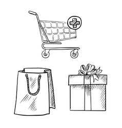 shopping cart gift box and bag sketches vector image