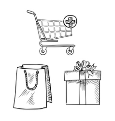 Shopping cart gift box and shopping bag sketches vector image