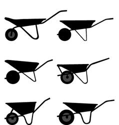 silhouettes wheelbarrows vector image