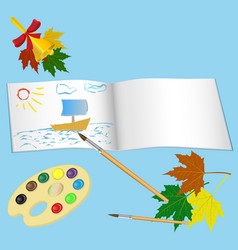 sketchbook palette with paints and brush vector image