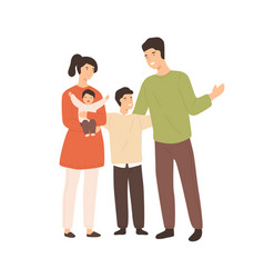 smiling cartoon family with two cute children vector image