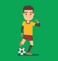 Soccer player kicking ball on green field vector