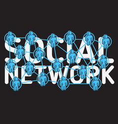 social network design with connection between vector image