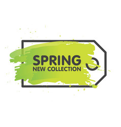 Spring sale tag concept in painted brush vector