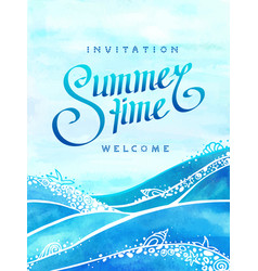 summer time and sea with drawn text vector image