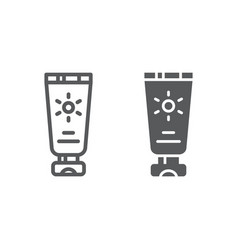 sun protection line and glyph icon cream and vector image