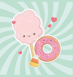 Sweet cotton sugar and candies kawaii characters vector