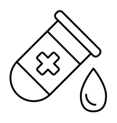test tube with drop thin line icon medical flask vector image