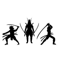 three samurai stance silhouette a white background vector image
