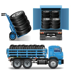 Tire Delivery Icons vector image