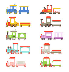 toy locomotives and wagons set colorful trains vector image