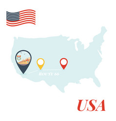 Usa map with route 66 pin travel concept vector