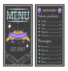 Vintage bakery menu template vector