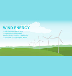 Wind power station on the green field alternative vector