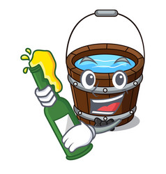 With beer wooden bucket mascot cartoon vector