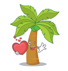 With heart palm tree character cartoon vector