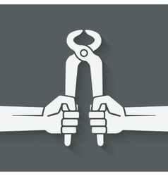 worker hands with pincers vector image