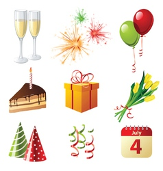 9 highly detailed celebration icons vector image